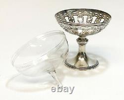 10 Tiffany Pierced Sterling Silver & Glass Lined Footed Compote Cups c. 1920