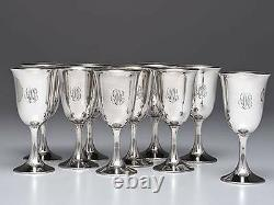 10pc Sterling Silver Water Wine Goblets Cups Bogaert by Frank Smith 6.75H