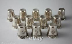 12 French Parisian Sterling Silver 950/1000 Vermeil Gold Liquor Cordials Cups