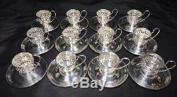 12 Gorham Sterling Silver Demitasse Cup Holders and Saucers A5549 & A5550