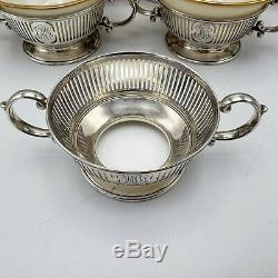 12 Lenox Green Stamp Cream Soup Cups with Sterling Silver Bailey Banks Biddle