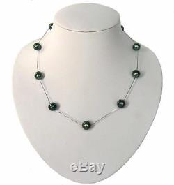 18 Baroque Tahitian Black Pearl Tin Cup Necklace in 925 Sterling Silver