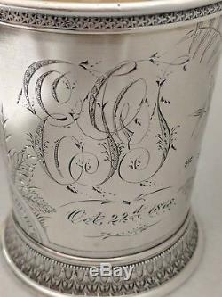 1878 Gorham Sterling Silver Eastlake Aesthetic Floral Bird Butterfly Child Cup