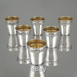 1920s French Sterling Silver & Vermeil Gold, Liquor Cordial Cups, 6 pcs