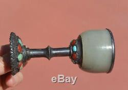 1930's Mongolian Chinese Sterling Silver Wine Cup Jade Coral Turquoise Carved