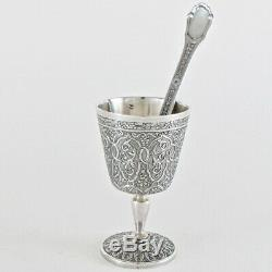 19c Antique French Sterling Silver Eggcup Egg Cup withSpoon Minerva 950 Coquetier