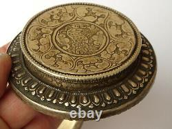 19th C Antique Chinese Mongolian Sterling Silver Hardstone Cup Bowl Qing Dynasty