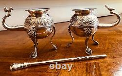 (2) Sterling Silver South American Yerba Mate Cups with1 Sterling Straw