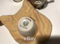 (2) Tiffany & Co. Sterling Silver. 925 Lenox Demitasse Coffee Tea Cups & Pouches