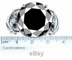 25.51 ct AAA BLACK ROUND CUT SOLITAIRE WORLD CUP. 925 SILVER RING (see video)