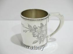3 3/8 in Sterling Silver Tiffany & Co. Antique c. 1896 Floral Baby Cup