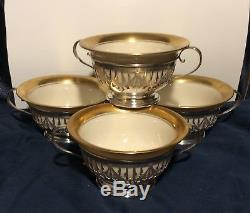 4 Matching Gorham Sterling Silver Cup Holders & Green Marked Lenox cups