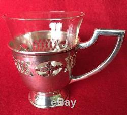 5 Vintage MC Sterling Silver cup holder and glass inserts monogrammed NMH