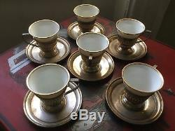 6 Sterling Silver Demitasse Cup Holders W Saucers Lenox Type Porcelain Liners