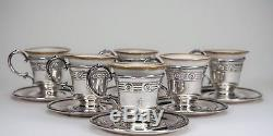 6 Webster Sterling Silver 925 Cups Saucers with Lenox Porcelain Cup Insert Liners