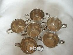 6 x BAR SPIRIT MEASURE TOT CUPS LATE VICTORIAN STERLING SILVER LONDON 1901