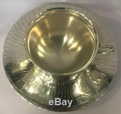 925 Sterling Silver Coffee Tea Cup & Saucer Set Home Decor