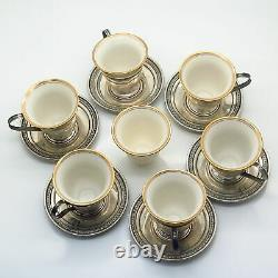 925 Sterling Vintage Set of 6 Pierced Demitasse Cup Holders & Saucers with Liners