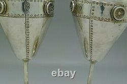 AMERICAN COIN SILVER c. 1870 RARE AESTHETIC MACHINE AGE PAIR GOBLETS CUPS CUP