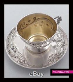 ANTIQUE 1880s FRENCH STERLING SILVER COFFEE CUP & SAUCER Rococo Satyr's Figure