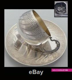ANTIQUE 1880s FRENCH STERLING SILVER & VERMEIL COFFEE/TEA CUP & SAUCER 194g