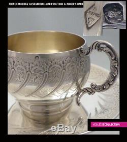 ANTIQUE 1880s FRENCH STERLING SILVER & VERMEIL COFFEE/TEA CUP & SAUCER 196g