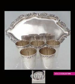 ANTIQUE 1890s FRENCH FULL STERLING SILVER CUPS & TRAY LIQUOR SET 6pc Rococo