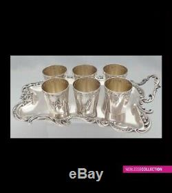 ANTIQUE 1890s FRENCH FULL STERLING SILVER CUPS & TRAY LIQUOR SET 7pc Rococo