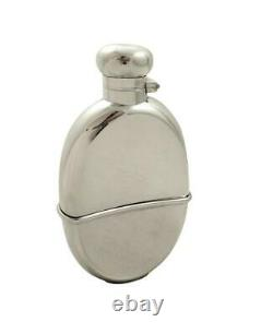 ANTIQUE EDWARADIAN STERLING SILVER HIP FLASK with CUP 1905