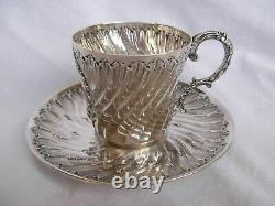 ANTIQUE FRENCH STERLING SILVER COFFEE CUP AND SAUCER, LOUIS 15 STYLE, LATE 19th