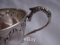 ANTIQUE FRENCH STERLING SILVER COFFEE CUP & SAUCER, LATE 19th CENTURY
