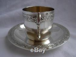 ANTIQUE FRENCH STERLING SILVER COFFEE CUP & SAUCER, LOUIS 15 STYLE, EARLY 20th