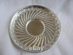 ANTIQUE FRENCH STERLING SILVER COFFEE CUP & SAUCER, LOUIS 15 STYLE, LATE 19th