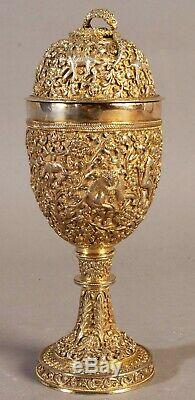 ANTIQUE INDIAN SILVER-GILT CUP AND COVER OR GOBLET 19th Cen INDIA SILVER KUTCH
