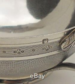 ANTIQUE/ORIGINAL FRENCH STERLING/SILVER GUILLOCHE CUP & SAUCER 19th