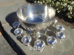 ART DECO STERLING SILVER PUNCH BOWL SET 12 CUPS With BOWL & LADLE DOMINICK & HAFF