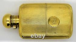 ASPREY. English sterling silver & GOLD HIP FLASK + CUP. CREST London 1922 455g