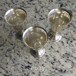 Alvin Lullaby Solid Sterling Silver Goblets Wine Water Cups Set Of 3, S250