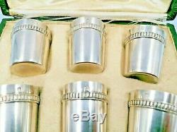 Amazing Set of 6 Solid Silver Sterling Shot Glasses Hallmark Minerva Cup