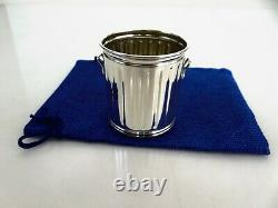American Mid Century Sterling Silver Figural Garbage Can Shot Cup & Pouch