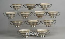 Antique 12 Sterling Silver And Lenox Cream Soup Bowls By Matthew & Company