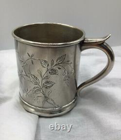 Antique, 1884 3 Sterling Silver Botanical Engraved Cup