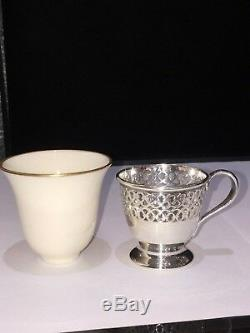 Antique 1913 Six Tiffany & Co. Sterling Silver Belleek Demitasse Cups and Saucers