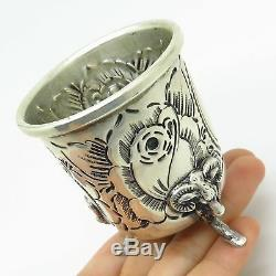 Antique 925 Sterling Silver Rose Floral Design Ram Footed Cup