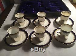 Antique Cased 6 Prices Silver Tea Cup Holders Hallmarked 1913 C D London #GA