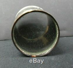 Antique ENGLISH HORN DRINKING CUP withSTERLING RIM and SHIELD hunting