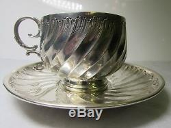 Antique Edouard Ernie 19th C French Monogrammed Sterling Silver Tea Cup & Saucer