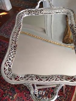 Antique English Sterling Silver & Porcelain Espresso Set 12 cups& saucers & Tray