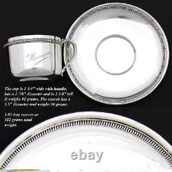 Antique French. 800 (nearly sterling) Silver Tea Cup & Saucer, Large Monique