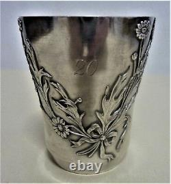 Antique French Sterling Silver 950 Neoclassic Flowers Garland Cup, 1881-1920